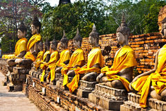 Buddha statues at the temple of Wat Yai Chai Mongk Stock Photos