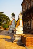 Buddha statues at the temple of Wat Yai Chai Mongk Royalty Free Stock Image