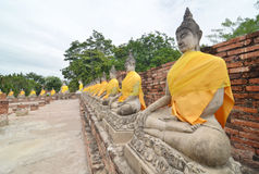 Buddha statues at the temple of Wat Yai Chai Mongkol Royalty Free Stock Images