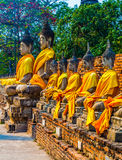 Buddha statues at the temple of Wat Yai Chai Mongkol in Ayutthay Stock Photos