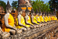 Buddha statues at the temple of Wat Yai Chai Mongkol in Ayutthay Royalty Free Stock Images