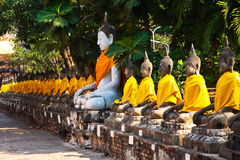 Buddha statues at the temple of Wat Yai Chai Mongkol in Ayutthay Royalty Free Stock Photo