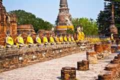 Buddha statues at the temple of Wat Yai Chai Mongkol in Ayutthay Royalty Free Stock Photos
