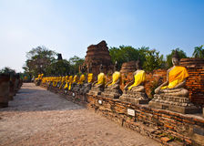 Buddha statues at the temple of Wat Yai Chai Mongkol in Ayutthay Stock Images