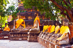 Buddha statues at the temple of Wat Yai Chai Mongkol in Ayutthay Stock Photography
