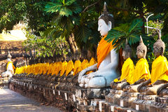 Buddha statues at the temple of Wat Yai Chai Mongkol in Ayutthay Royalty Free Stock Photography