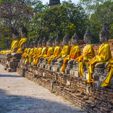 Buddha statues at the temple of Wat Yai Chai Mongkol in Ayutthaya Stock Images
