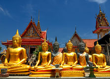 Buddha statues at Thai temple Stock Photo