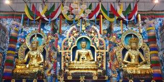 Buddha statues in a Tibetan monastery Stock Image
