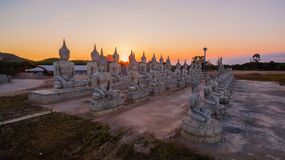 Buddha statues in twilight Royalty Free Stock Photography