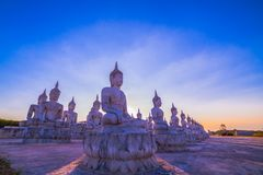 Buddha statues in twilight Stock Photography