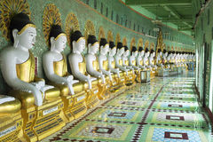 Buddha Statues at U Min Thonze Pagoda in Sagaing, Mandalay, Myan Royalty Free Stock Photography