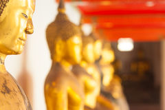 Buddha statues in the Wat Pho temple Royalty Free Stock Photo