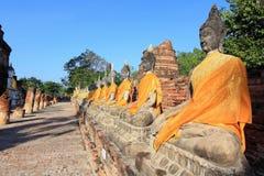 Buddha statues,Wat Yai Chai Mongkol Stock Photo