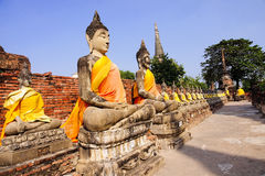 Buddha statues at Wat Yai Chai Mongkol Royalty Free Stock Photography