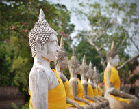 Buddha statues at Wat Yai Chai Mongkol in Ayutthaya, Thailand Stock Photos