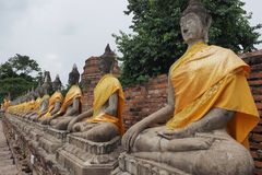 Buddha statues at Wat Yai Chai Mongkon. A Buddhist temple in Ayutthaya, Thailand Stock Photo