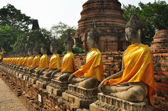 Buddha statues in Wat Yai Chaimongkhon Royalty Free Stock Photo