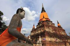 Buddha statues at Wat Yai Chaimongkol Ayutthaya, Thailand Stock Images