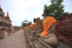 Buddha statues at Wat Yai Chaimongkol Ayutthaya, Thailand Stock Photo