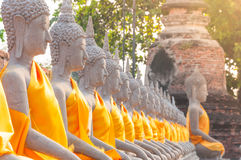Buddha statues in at Wat Yai Chaimongkol in Ayutthaya Thailand Stock Images