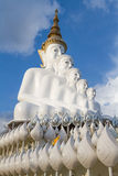 Buddha statues White 5 lined practice. Royalty Free Stock Photo