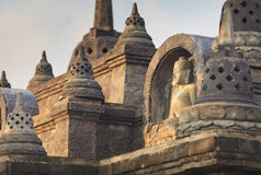 Buddha statute in buddhist temple Stock Photos