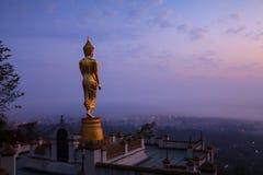 Buddha statuy pozycja w nocy przy Watem Phra Ten Khao Noi w Nan Obraz Royalty Free