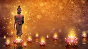Buddha statuy wody Buddha lotosowa pozycja na lotosowym kwiacie na pomarańczowym tle ilustracji