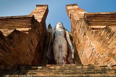 Buddha staue in the temple ruins of sukhothai Stock Image