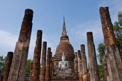 Buddha staue in the temple ruins of sukhothai Royalty Free Stock Images
