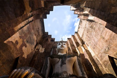 Buddha staue in the temple ruins of sukhothai Stock Photo