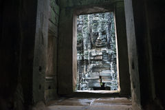 Buddha Stone Face At Bayon Temple at Angkor Thom Royalty Free Stock Images