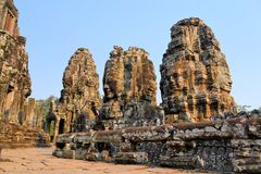 Buddha Stone faces, Bayon temple, Angkor, Cambodia Stock Photos