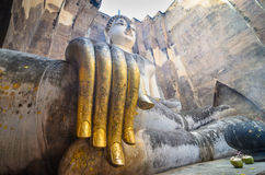 Buddha sukhothai Thailand. Landmark big seated buddha statue in temple ruins of wat si chum sukhothai historical park in northern thailand Royalty Free Stock Images