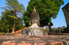 Buddha sukhothai Thailand. Landmark big seated buddha statue in temple ruins of wat si chum sukhothai historical park in northern thailand Stock Photo