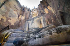 Buddha sukhothai Thailand. Landmark big seated buddha statue in temple ruins of wat si chum sukhothai historical park in northern thailand Royalty Free Stock Image