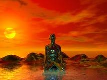 Buddha and sun yellow royalty free illustration