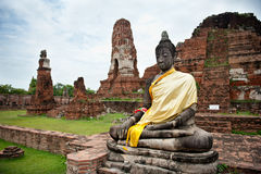 Buddha and temple in Ayutthaya Royalty Free Stock Photos