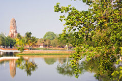 The buddha temple and the lake in the central park, at Ayutthaya Royalty Free Stock Photography