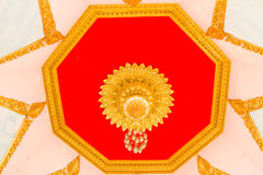 Buddha temple wall and thai style ceiling Stock Photo
