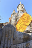 Buddha temple of Wat Yai Chai. Buddha covered by orange fabric from the temple of Wat Yai Chai Mongkol in Ayutthaya, Thailand royalty free stock photos