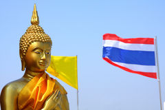 Buddha and Thai flag Stock Images