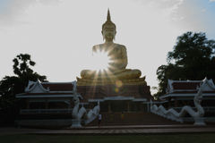 Buddha in Thailand. Buddha is beautiful landscape in Thailand,image  in the evening,sunlight background ,Ubonratchatani, Thailand Royalty Free Stock Images