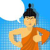 Buddha Thumbs up in pop art style. Indian god. Sign all right. H Stock Image