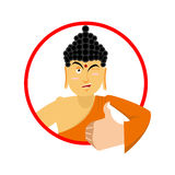 Buddha Thumbs up and winks. Indian god. Sign all right. Hand sho Stock Photography