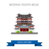 Buddha Tooth Relic Singapore vector flat attraction travel. Buddha Tooth Relic in Singapore. Flat cartoon style historic sight showplace attraction web site Royalty Free Stock Images