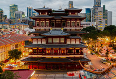 The Buddha Tooth Relic Temple. In Singapore's Chinatown at sunset royalty free stock images