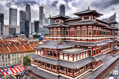 Buddha Tooth Relic Temple. This image, Buddha Tooth Relic Temple and Singapore Skyline, has an AdobeRGB(1998) color profile. The colors in the Dreamstime preview stock photography