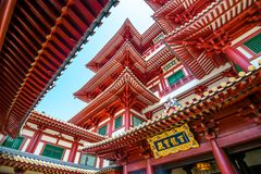 The Buddha Tooth Relic Temple. The Buddha Tooth Relic Temple with close up building roof in Singapore stock images